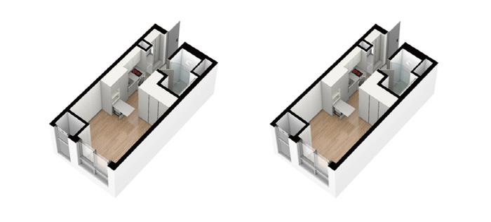 (왼쪽부터) '경산 하양 파인앤유 더 퍼스트' 도시형생활주택 전용 18㎡과 오피스텔 전용 22㎡ 평면도 [사진 = 파인건설]
