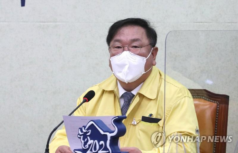 김태년 더불어민주당 원내대표가 지난 22일 최고위원회의에서 발언하고 있다. [사진 출처=연합뉴스]