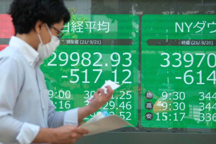 21일 장이 열린 도쿄 닛케이지수가 헝다발 쇼크에 2% 가까이 급락한 채 거래되고 있다. [사진 = 연합뉴스]